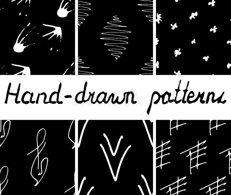 Uppsättning av hand-drog sömlösa monokrommodeller royaltyfri illustrationer