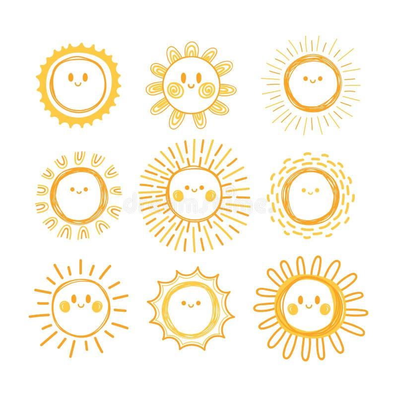 Uppsättning av hand drog solsymboler Samling av att le soltecken klotter stock illustrationer