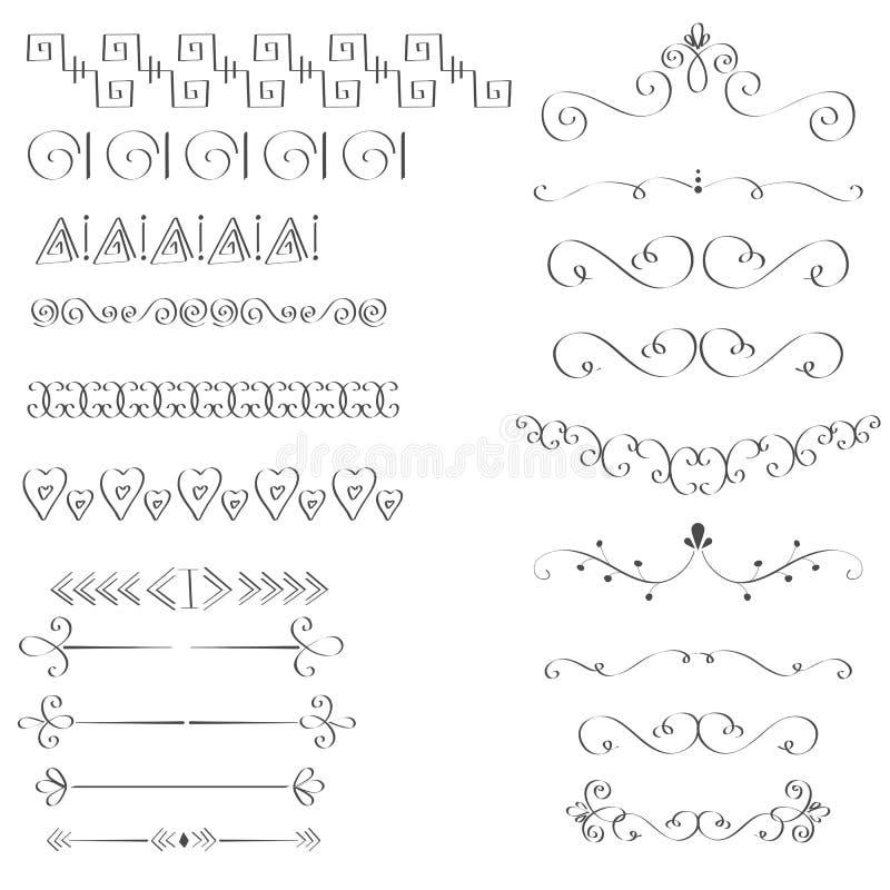 Uppsättning av hand-drog svarta handtagbeståndsdelar vektor illustrationer