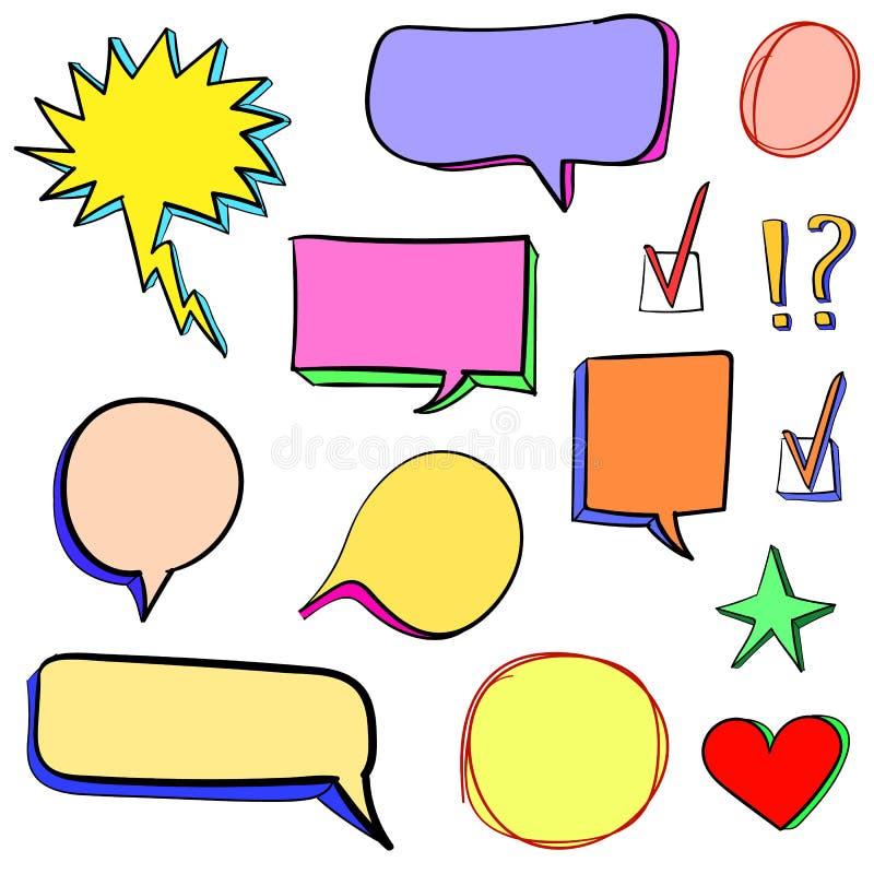 Uppsättning av hand drog symboler 3d: kontrollfläcken, stjärnan, hjärta, anförande bubblar vektor Olik färguppsättning vektor illustrationer