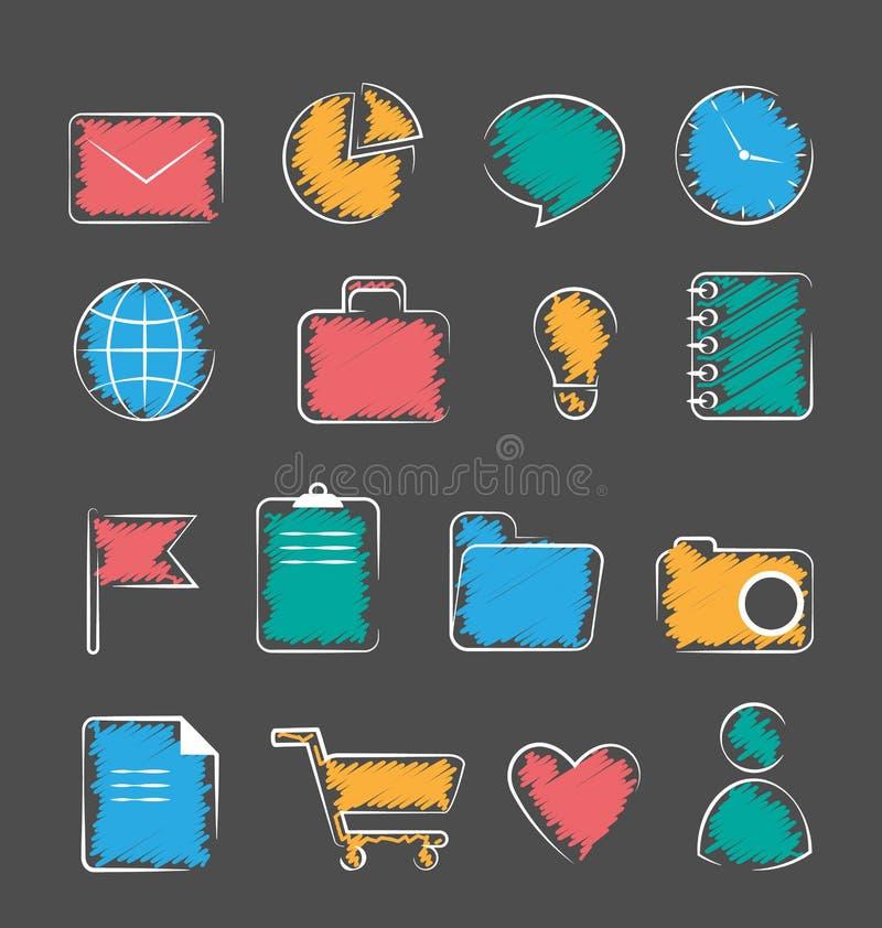 Uppsättning av hand-drog symboler för affärskontor som lägenhet isoleras på grå färger vektor illustrationer