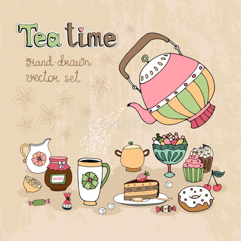 Uppsättning av hand drog Teatimedesignbeståndsdelar vektor illustrationer