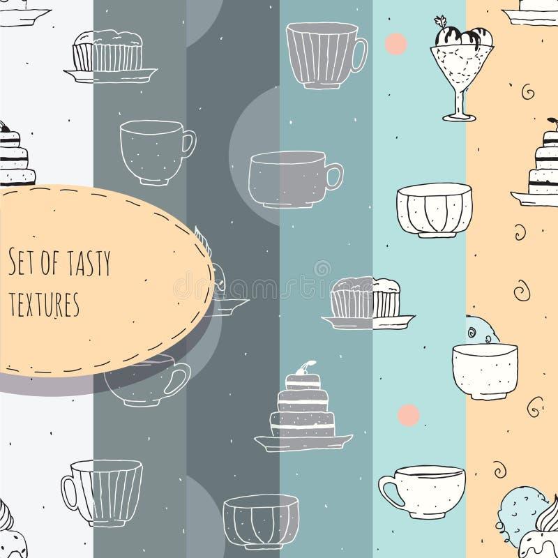 Uppsättning av hand-drog texturer med te och kaffekoppar och kakor Vektorillustration som göras i pastellfärgade färger, i sex ol vektor illustrationer