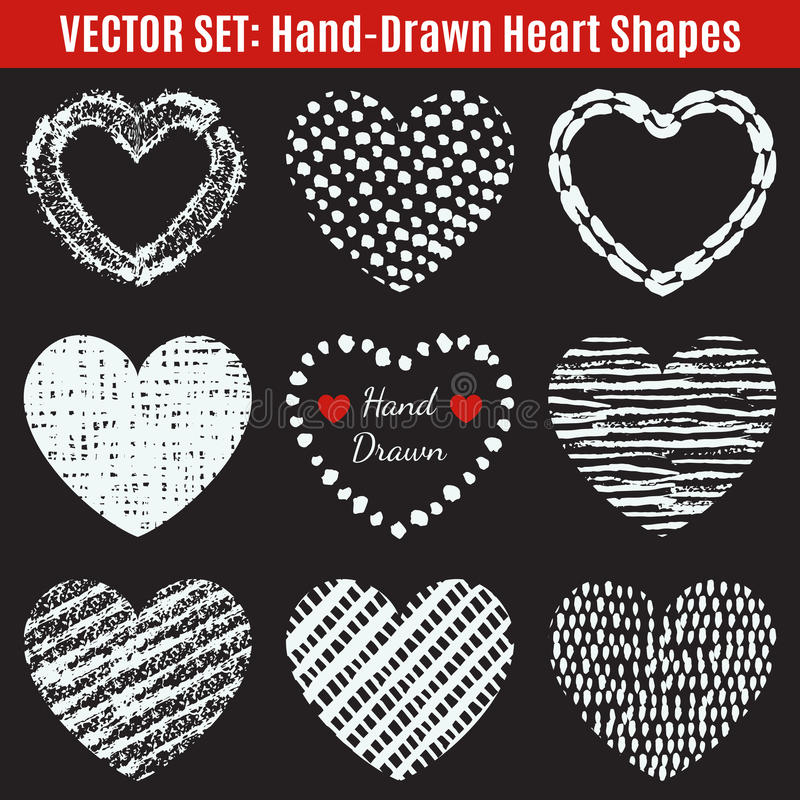 Uppsättning av hand-drog texturhjärtaformer vektor royaltyfri illustrationer