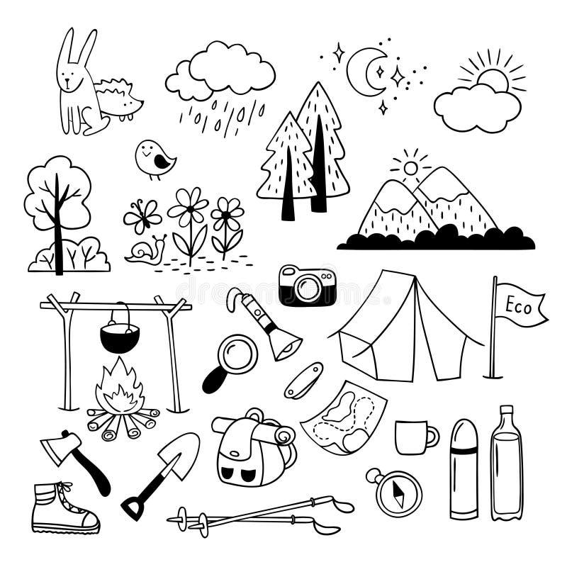 Uppsättning av hand drog utomhus- campa utrustningsymboler som fotvandrar, bergklättring Campa klotterbeståndsdelar royaltyfri illustrationer