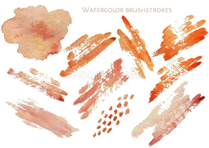 Uppsättning av hand drog vattenfärgetiketter och emblem för skönhet, sunt liv och wellness Vektorillustrationer för diagram stock illustrationer