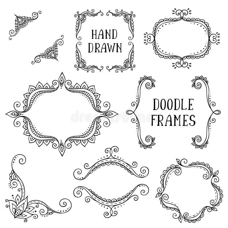 Uppsättning av hand drog vektorklotterramar på vit bakgrund royaltyfri illustrationer