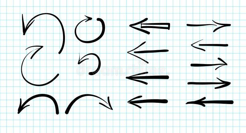 Uppsättning av hand-drog vektorpilklotter royaltyfri illustrationer