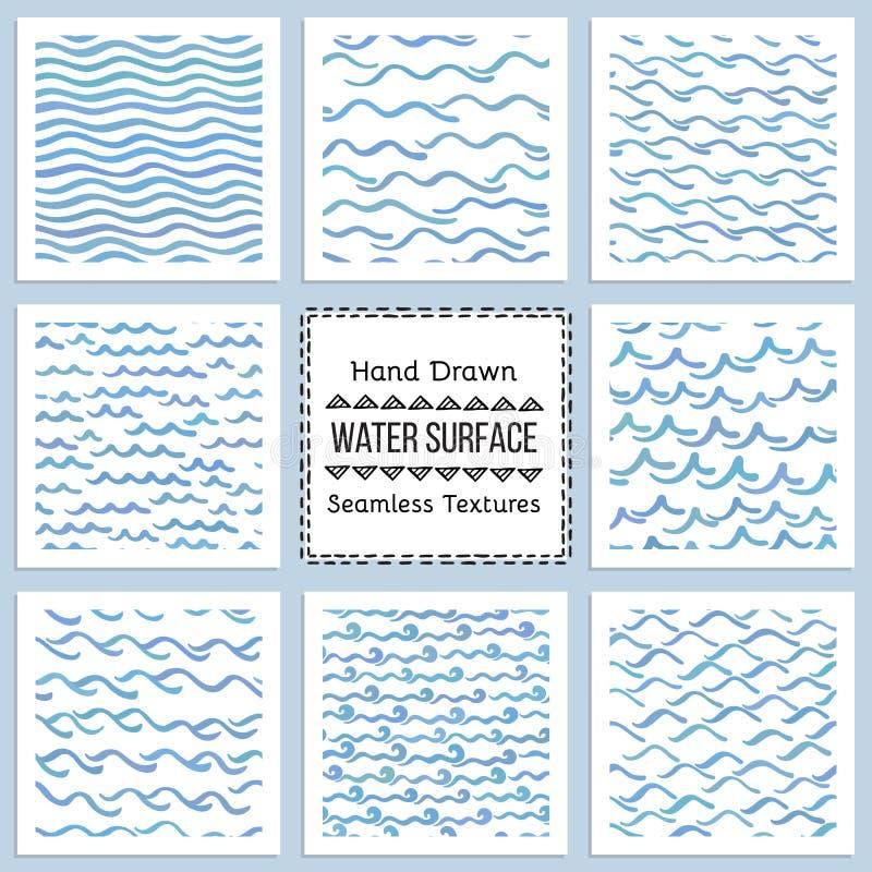 Uppsättning av hand drog vektortexturer av vattenyttersida stock illustrationer