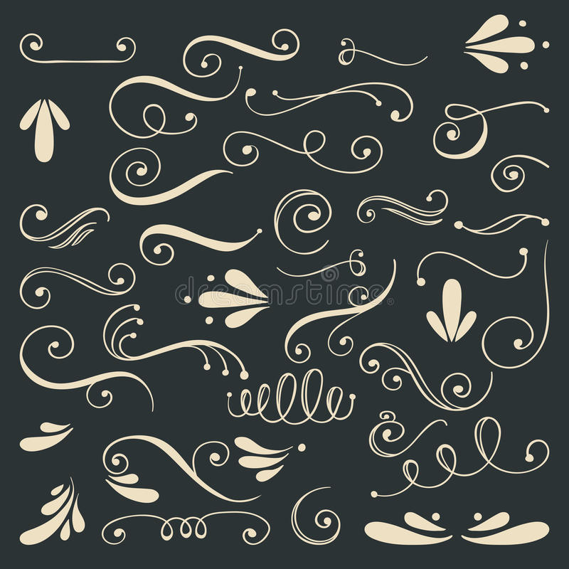 Uppsättning av hand drog virvlar stock illustrationer