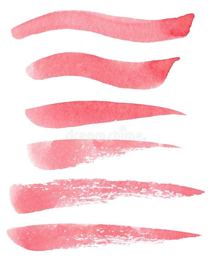 Uppsättning av hand målade röda slaglängder för vattenfärggrungeborste av olika former som isoleras på den vita bakgrunden stock illustrationer