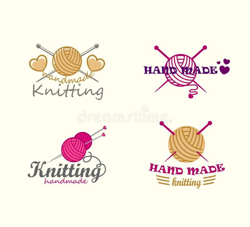 Uppsättning av handarbetelogobeståndsdelar royaltyfri illustrationer