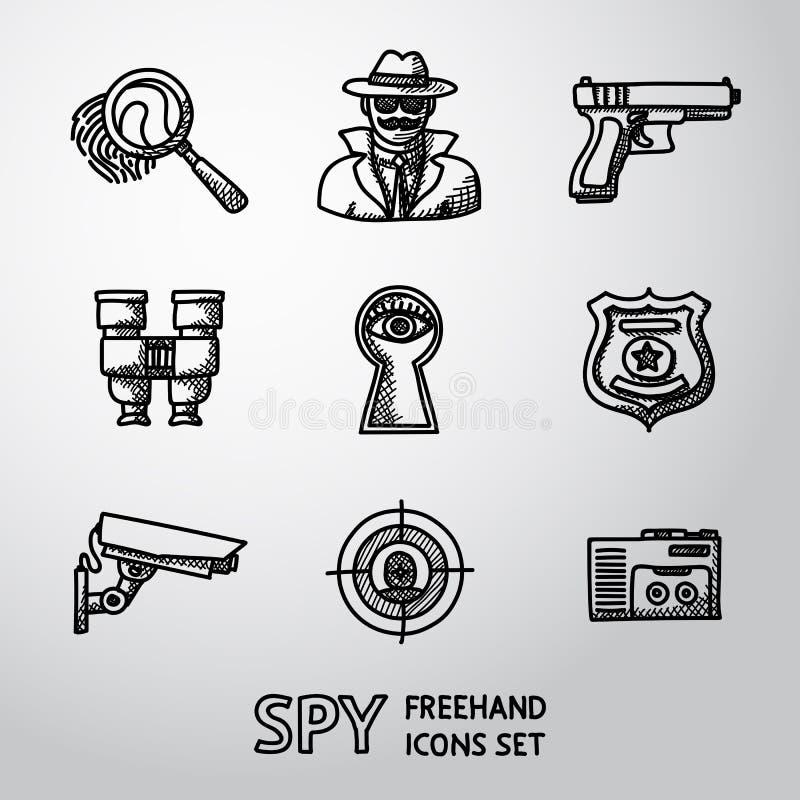Uppsättning av handdrawn symboler för spion - fingeravtryck, spion, vapen vektor illustrationer