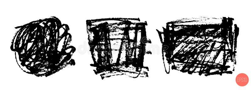 Uppsättning av handen som dras för att klottra former som isoleras på vit Klotterstil skissade bakgrunder Monokromma vektordesign stock illustrationer