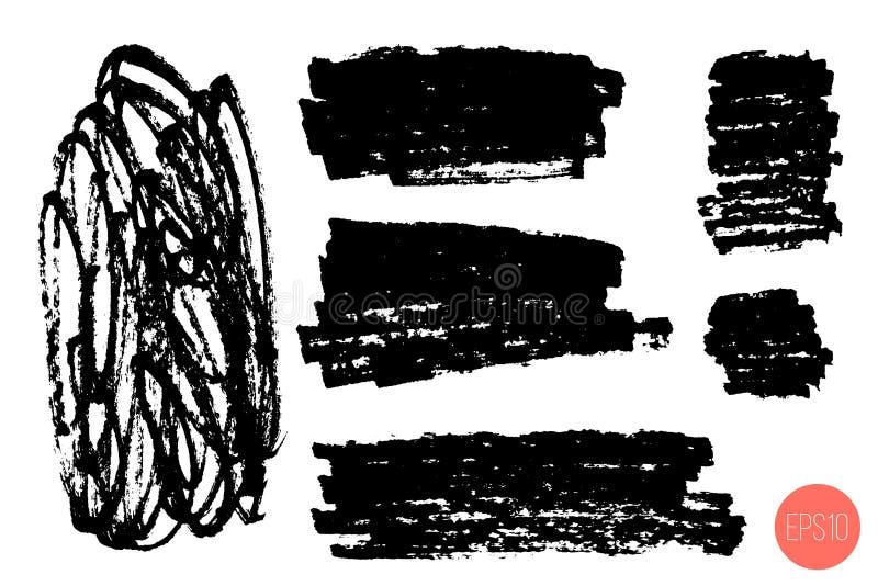 Uppsättning av handen som dras för att klottra former som isoleras på vit Klotterstil skissade bakgrunder Monokromma vektordesign vektor illustrationer