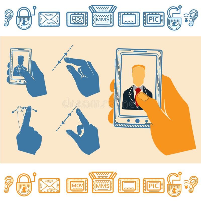 Uppsättning av handen som rymmer den upprätta mobiltelefonen med mannen på skärmen Plana stilsymboler royaltyfri illustrationer