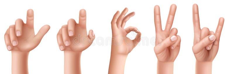 Uppsättning av handgester med ett lyftt finger upp, ett reko tecken och en seger, en get stock illustrationer