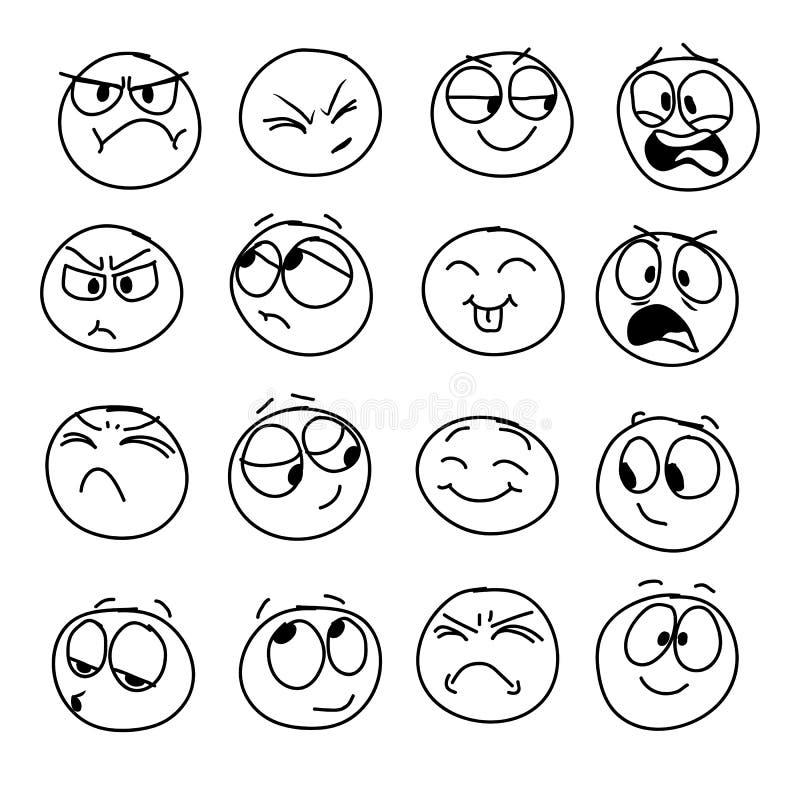 Uppsättning av handgjorda emoticons, sinnesrörelse, känslor, erfarenhet för symboler royaltyfri illustrationer