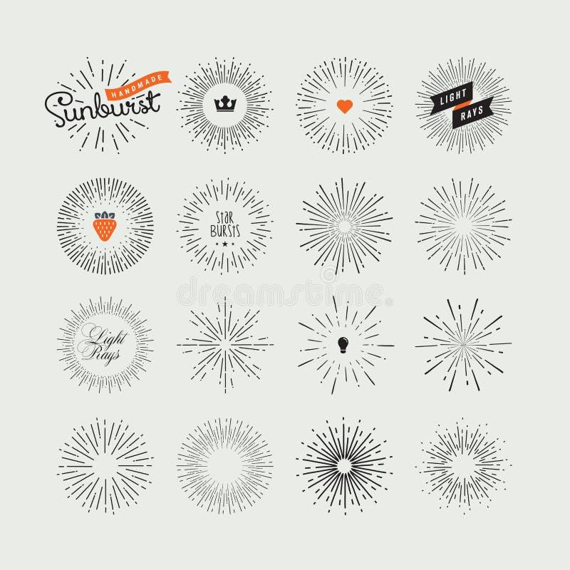 Uppsättning av handgjorda sunburstdesignbeståndsdelar stock illustrationer