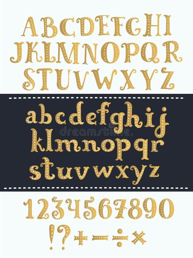 Uppsättning av handskrivna guld- latinska bokstäver Vektorskriftstilsort Guld- alfabet som isoleras på bakgrund royaltyfri illustrationer