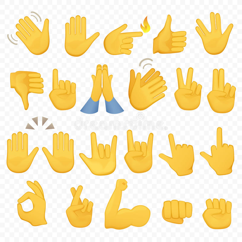 Uppsättning av handsymboler och symboler Emoji handsymboler Olikt gester, händer, signaler och tecken, alfabetiskbakgrundsvektor stock illustrationer