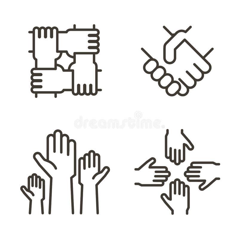 Uppsättning av handsymboler som föreställer partnerskap, gemenskap, välgörenhet, teamwork, affär, kamratskap och beröm gears symb royaltyfri illustrationer