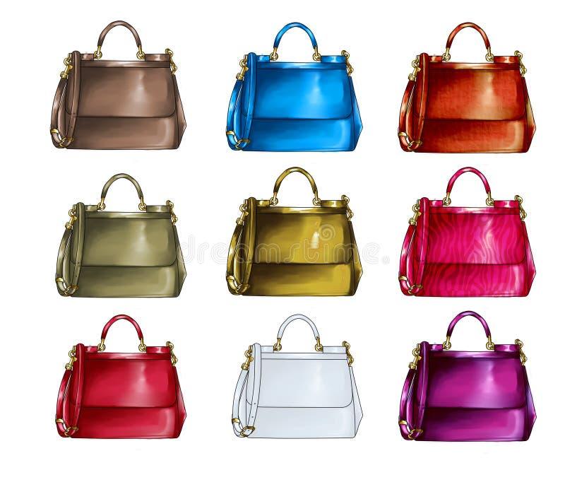 Uppsättning av handväskor i olika texturer och färger vektor illustrationer