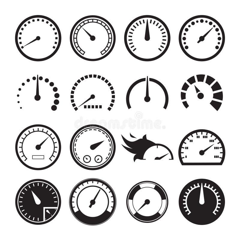 Uppsättning av hastighetsmätaresymboler stock illustrationer