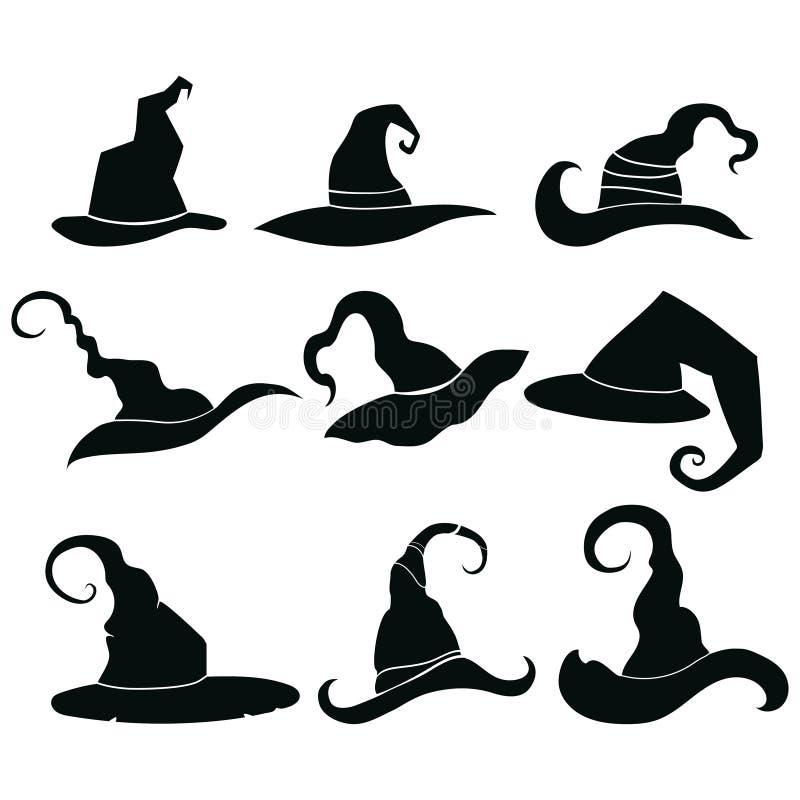 Uppsättning av hattar av häxor Samling av huvudbonader av trollkarlar Konturer av hattar för en halloween Illustration för royaltyfri illustrationer