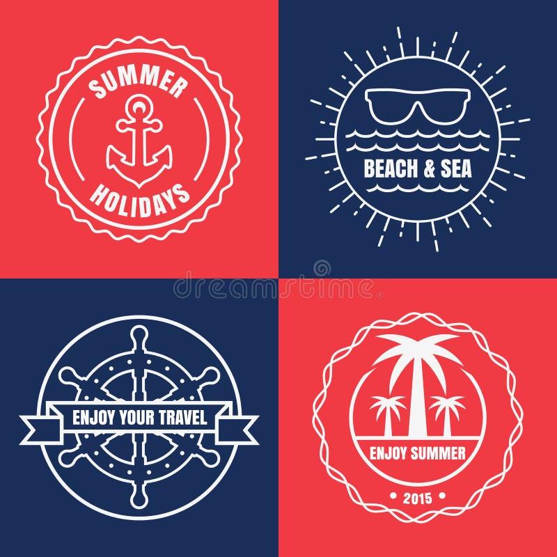 Uppsättning av havet och nautiskt tecken för sommar, emblem och etiketter vektor royaltyfri illustrationer