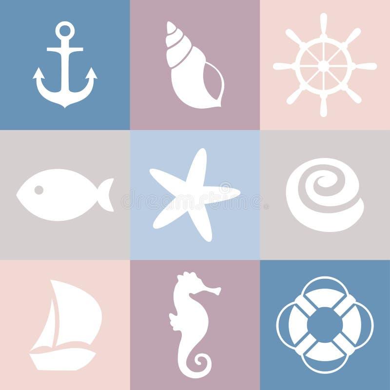 Uppsättning av havssymboler Shell sjöstjärna, fisk, ankare, styrninghjul, livpreserver, skepp, havshäst vektor illustrationer