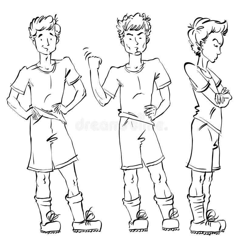 Uppsättning av hellång hand-dragen Caucasian tonår för vektor, svart och stock illustrationer