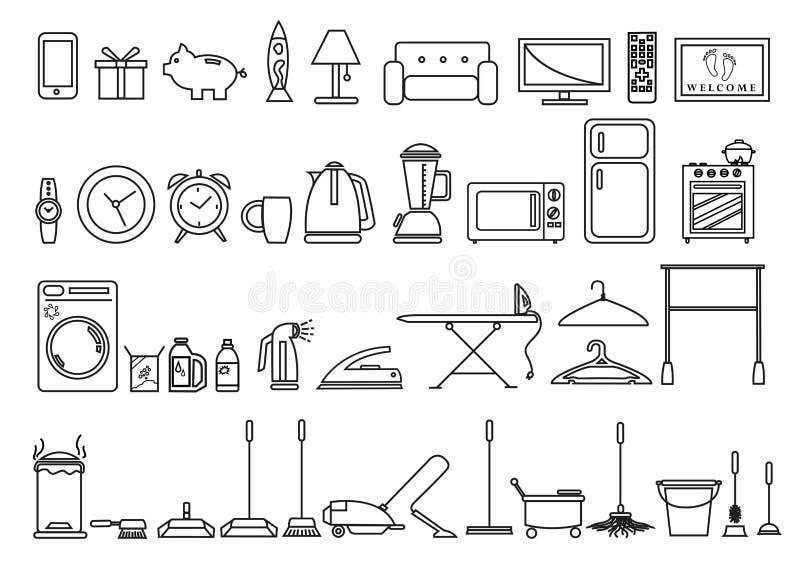 Uppsättning av hem- och livsstilhjälpmedel och objekt i översikten Art Style Redigerbar gemkonst royaltyfri illustrationer