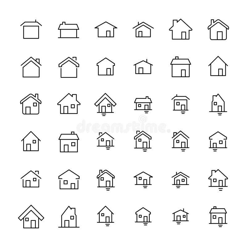 Uppsättning av 36 hem- tunn linje symboler stock illustrationer