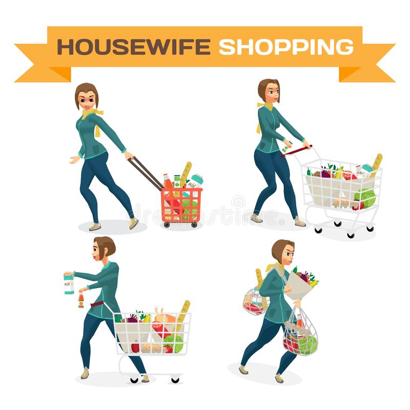 Uppsättning av hemmafrun för unga kvinnor i en supermarket med en full shoppi vektor illustrationer