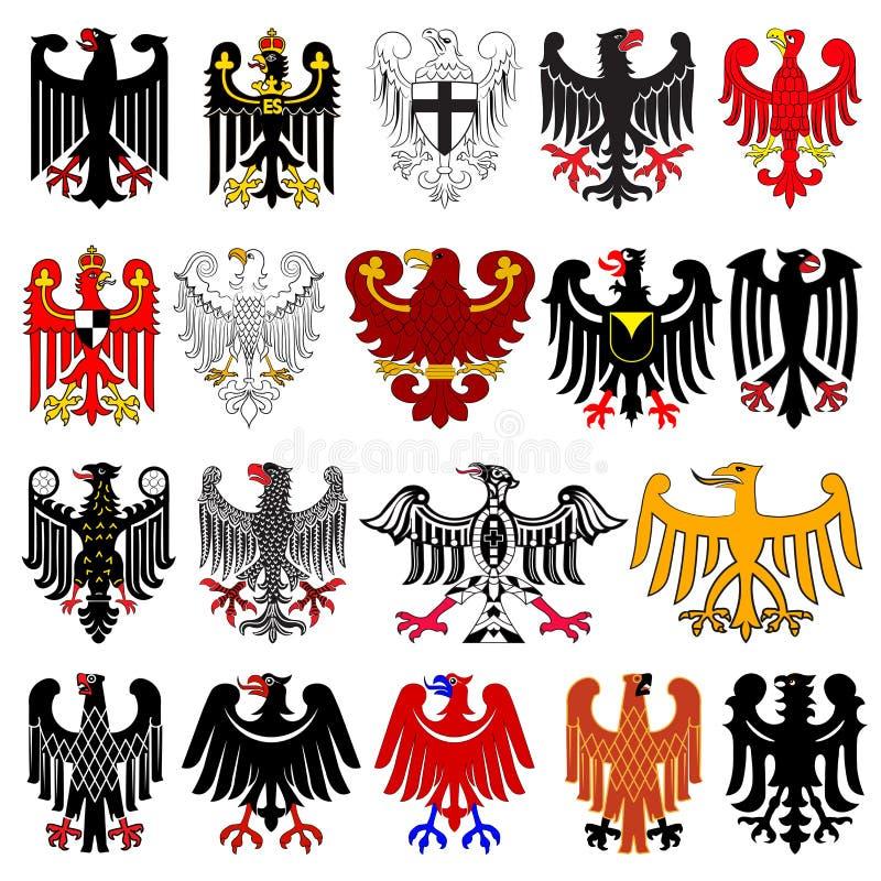 Uppsättning av heraldiska tyska örnar stock illustrationer