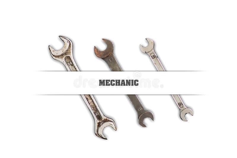 Uppsättning av hjälpmedel, skruvnycklar på en vit bakgrund Inskrift mekaniker Begrepp av yrket vektor illustrationer