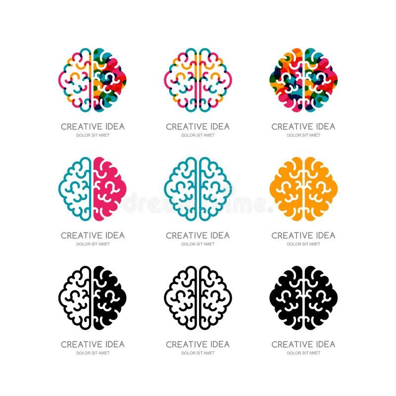 Uppsättning av hjärnlogoen, tecken, emblemdesignbeståndsdelar vektor illustrationer