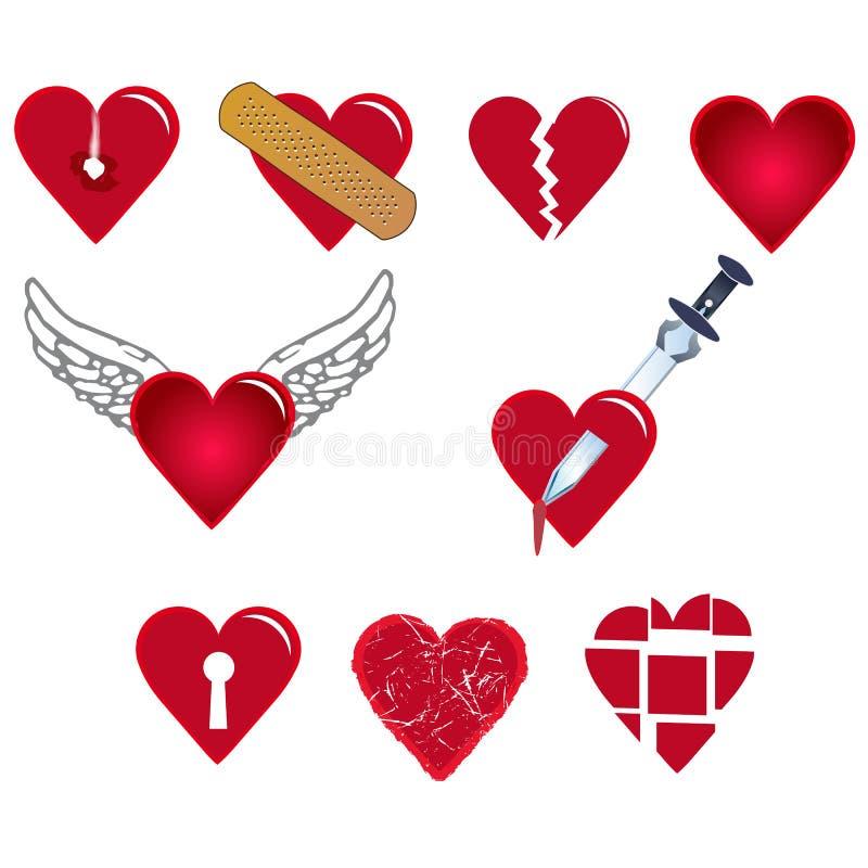 Uppsättning av hjärtaformer stock illustrationer
