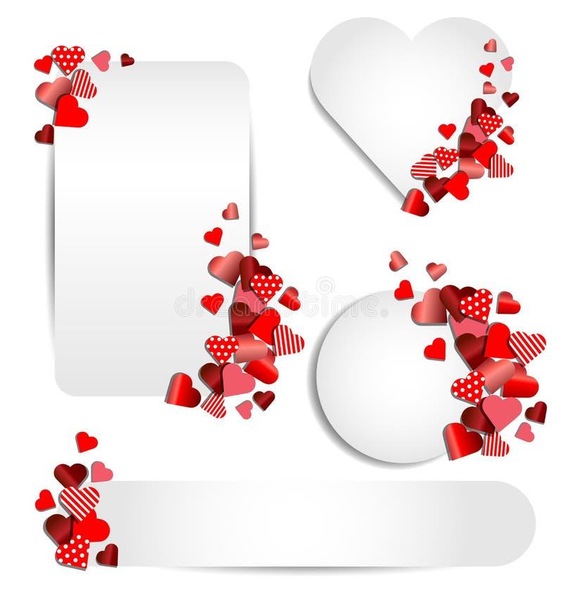 Uppsättning av hjärtaramen för valentindag stock illustrationer
