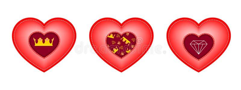 Uppsättning av hjärtor för dag för valentin` s Mellanlägg i form av en krona, en diamant och en modell av beståndsdelarna vektor illustrationer