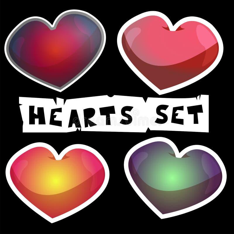 Uppsättning av hjärtor för valentindag och förbindelse royaltyfri fotografi