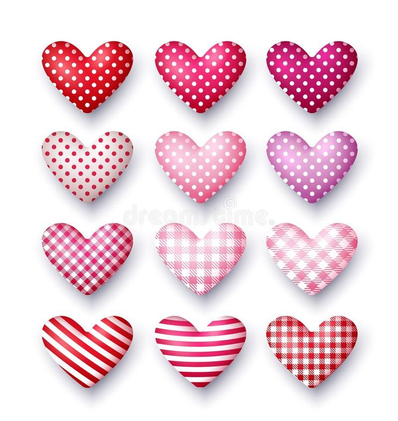 Uppsättning av hjärtor för vektor 3d för dag för valentin` s royaltyfri illustrationer