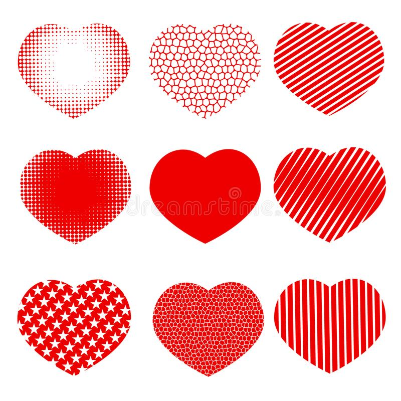 Uppsättning av hjärtor med effekthalvton, band, honungskakor och stjärnor vektor illustrationer