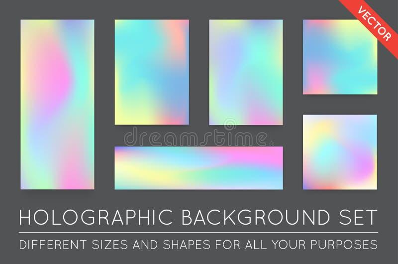 Uppsättning av Holographic moderiktiga bakgrunder Kan användas för räkningen, Bo stock illustrationer
