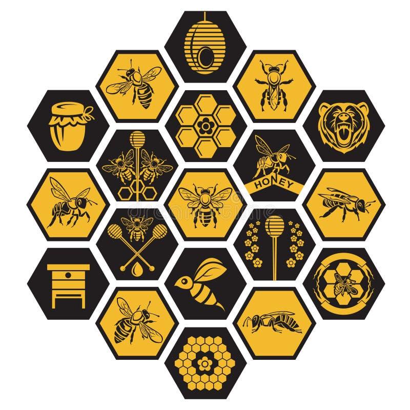 Uppsättning av honungetiketter royaltyfri illustrationer