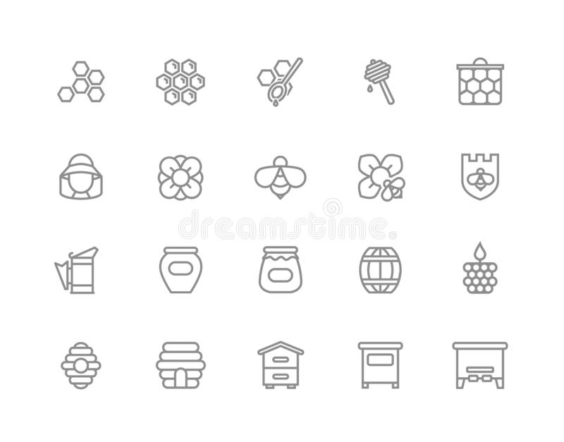 Uppsättning av honunglinjen symboler Bi honungskaka, trumma, beekeeper, skopa, krus, blomma, bikupa, kruka, sexhörning, bivax, sk royaltyfri illustrationer