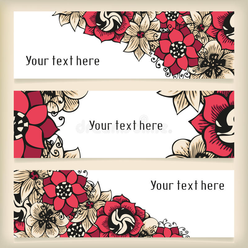Uppsättning av horisontalbaner med blom- klottra stock illustrationer