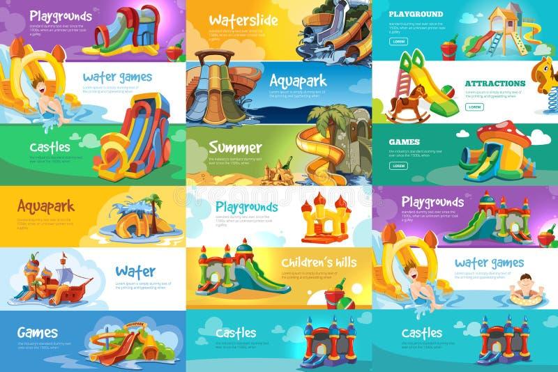 Uppsättning av horisontalbaner med lekplatser stock illustrationer
