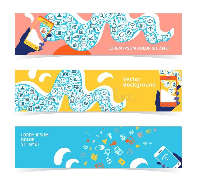 Uppsättning av horisontalbaner, titelrader Redigerbar designmall stock illustrationer